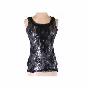 White House Black Market Sequin & Overlay Top